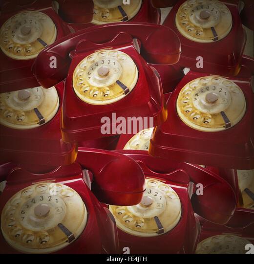 Full-Frame-Schuss rot Rotary Handys Stockbild