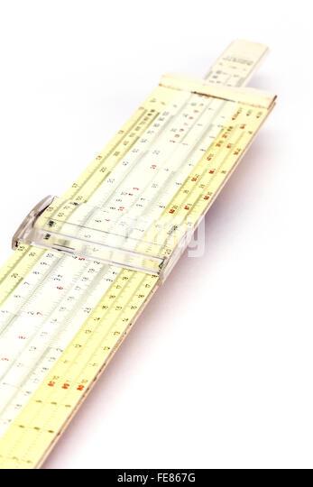 Ein Rechenschieber - eine veraltete Art der Mathematik Berechnung, UK Stockbild