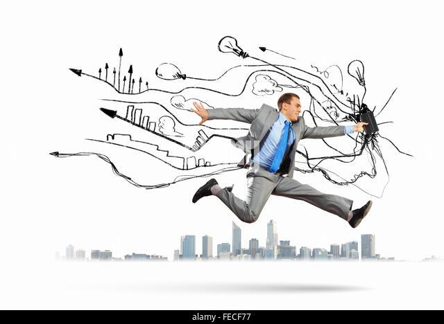 Bild der Geschäftsmann mit Wecker gegen Illustration Hintergrund Stockbild