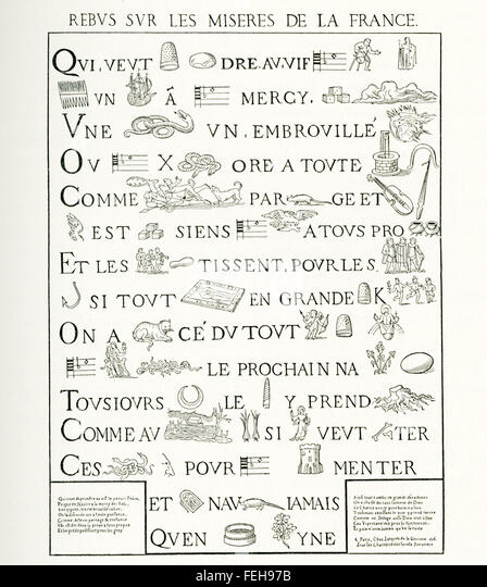 Dieser französische Rebus (allusional Gerät, das Bilder verwendet, um Wörter oder Wortteile darzustellen) Stockbild