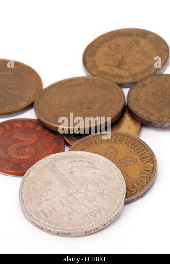 Alte deutsche d-Mark-Münzen aus der Zeit des Pre-euro Stockbild