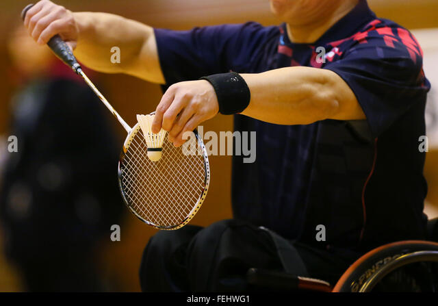 Kurume Stadt westlichen Gymnasium, Fukuoka, Japan. 6. Februar 2016. Detail erschossen, 6. Februar 2016 - Badminton: Stockbild