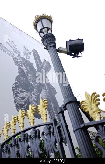 Jesus Wandbild an der Kirchenmauer in Jerez, Spanien Stockbild