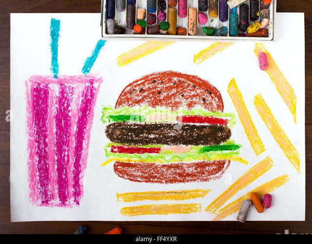 bunte Zeichnung: ungesunde Lebensmittel Stockbild