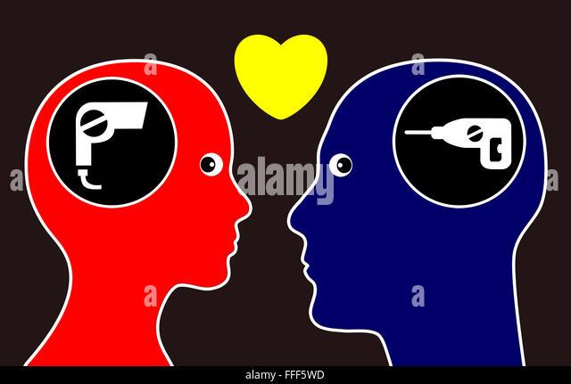 Gegensätze ziehen sich an. Stockbild