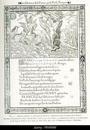 """Dieses politische und allegorische Poster reicht bis 1594, die Zeit der Reformation. Es trägt den Titel """"Die Stockbild"""