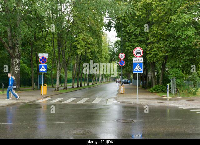 PALANGA, Litauen - AUGUST 08,2015: In den Straßen von Palanga. Palanga ist der größte Kurort in Litauen. Stockbild