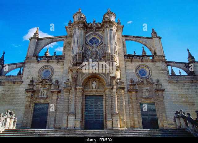 Fassade der Kathedrale. Jerez De La Frontera, Provinz Cadiz, Andalusien, Spanien. Stockbild