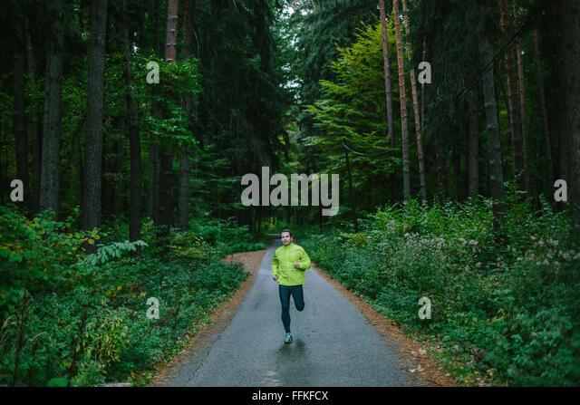 Mann läuft auf Pfad in einem alten grünen Wald. Stockbild