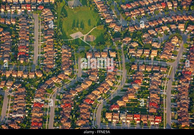 Nordamerikanische Vorort Nachbarschaft, Luftbild Stockbild