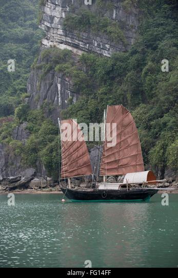 Ein Zwilling segelte Junk-vor Anker in einem Fischerdorf in Halong-Bucht, Nord-Vietnam Stockbild