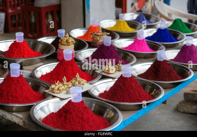 Holi Farben, Pulver, Indien, Asien Stockbild