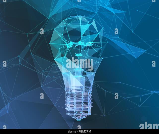 Lampe anschließen polygonaler Dreieck. Das Konzept des Kommunikationsnetzes Stockbild