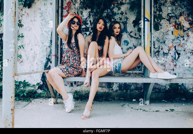 Drei schöne Mädchen Stockbild