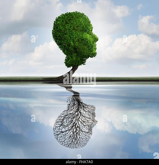 Versteckte Depression Konzept und private Gefühle Symbol als ein Baum mit Blättern, die Form eines menschlichen Stockbild