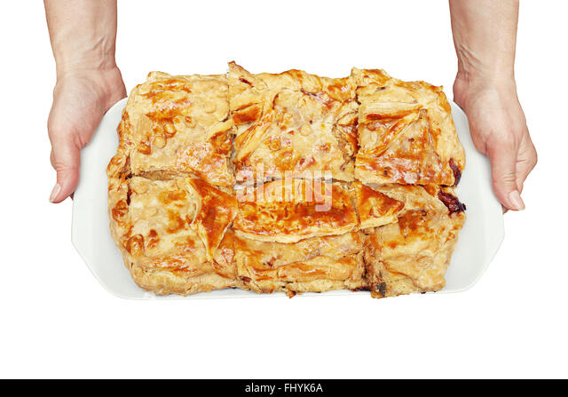 Fisch Kuchen auf Teller in Händen isoliert auf weißem Hintergrund Stockbild