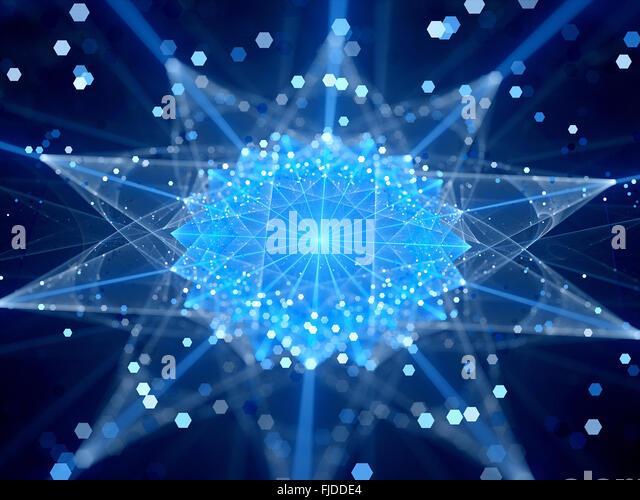 Blau leuchtende Verbindungen im Cyberspace, Computer generiert abstrakten Hintergrund Stockbild