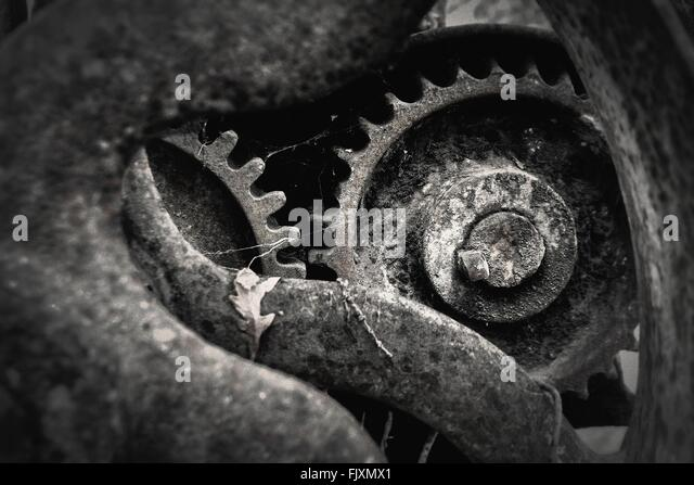 Nahaufnahme von rostigen verlassenen Maschinenteil Stockbild