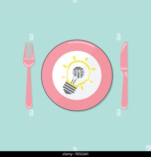 Kreative Glühbirne Idee und Gehirn Konzept Hintergrund Geschäftskonzept. Vektor-illustration Stockbild