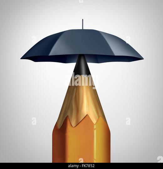 Mögliche Conceprt oder Bildung Sicherheitssymbol Sicherheit oder Freiheit der Rede-Ikone wie ein Bleistift Stockbild