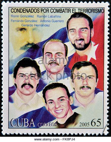 Kuba - CIRCA 2005: Briefmarke gedruckt in Kuba zeigt, dass die fünf Kubaner in den Vereinigten Staaten, ca. Stockbild