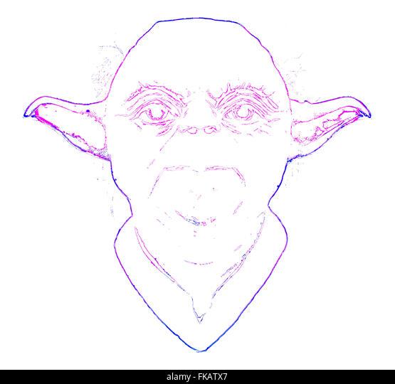 Glühende Yoda auf weißem Hintergrund Stockbild