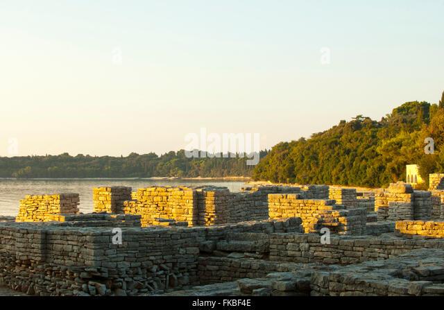 Kroatien, Istrien, Insel Veli Brijuni im Nationalpark Brijuni - Inseln vor Pula. byzantinisches Kastell. Stockbild