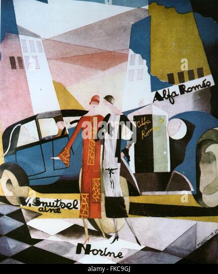 1920er Jahre Belgien Alfa Romeo Poster Stockbild