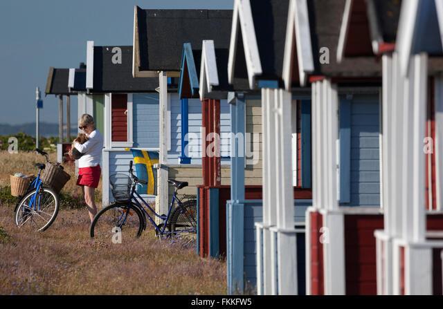 Farbenfrohe Strandhütten, Skanör Falsterbo, Falsterbo Halbinsel, Skåne (Scania), Südschweden, Stockbild