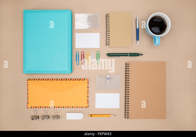 Mock-up Vorlage stationär im Alltag, Office Supply Stockbild