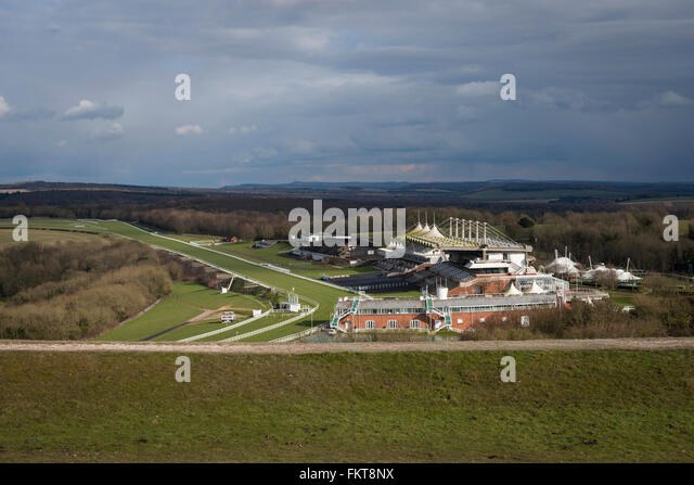 Goodwood Race Course gesehen von der Trundle in der Nähe von Chichester, West Sussex, UK Stockbild