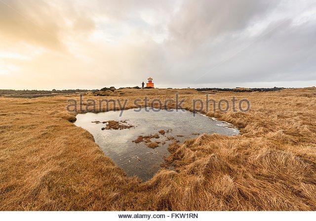Ondverdanes Leuchtturm, Snaefellsnes Halbinsel Stockbild