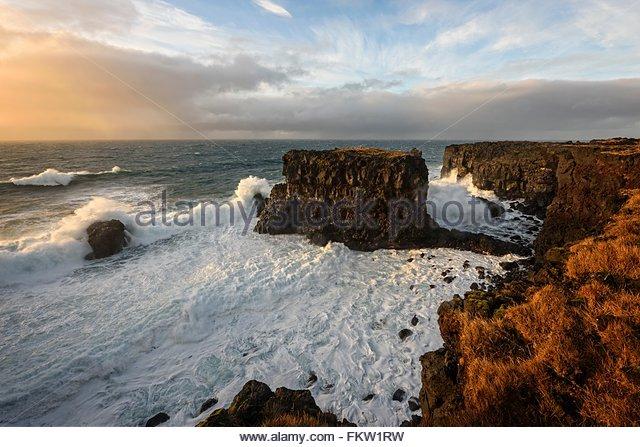 Schaum Wellen, Snaefellsnes Halbinsel Stockbild