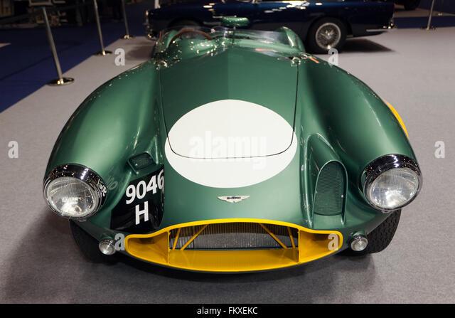 Vorderansicht des eine 1953 Aston Martin DB3S/05 Ex Sir David Brown Racing Team, jetzt vollständig Fabrik von Stockbild