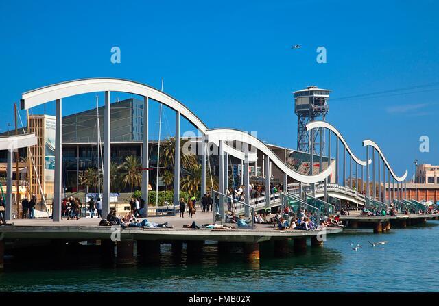 Spanien, Katalonien, Barcelona, Rambla del Mar Stege von den Architekten Helio Pinon und Albert Viaplana in der Stockbild