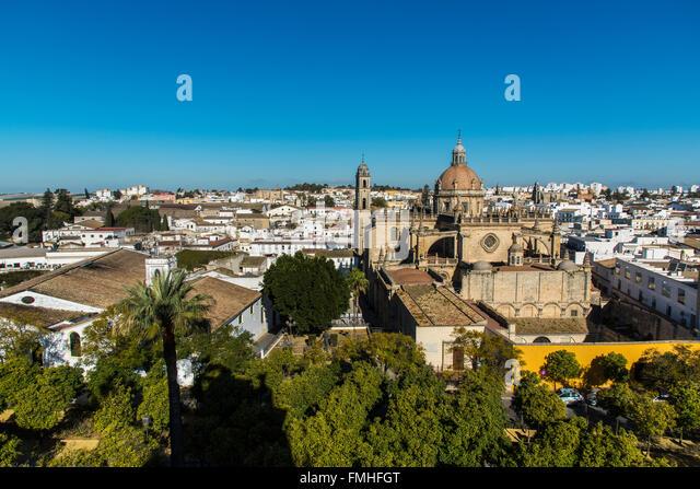 Dom und Stadt Skyline, Jerez De La Frontera, Andalusien, Spanien Stockbild
