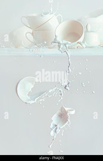 Verschüttete Milch Stockbild