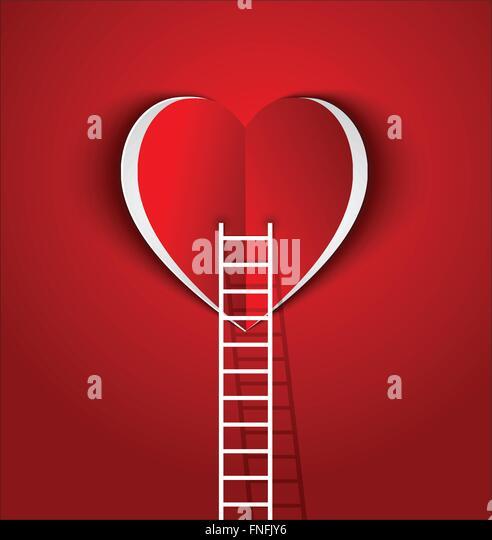 Leiter, um Ihr Herz-Konzept Symbol Liebe und Beziehung Stockbild