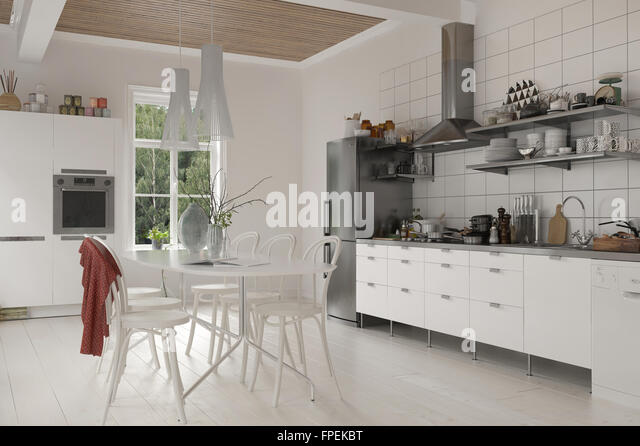 kitchen dining room open plan monochromatic stockfotos. Black Bedroom Furniture Sets. Home Design Ideas