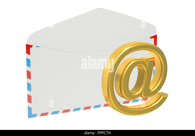 E-Mail-Konzept isoliert auf weißem Hintergrund Stockbild