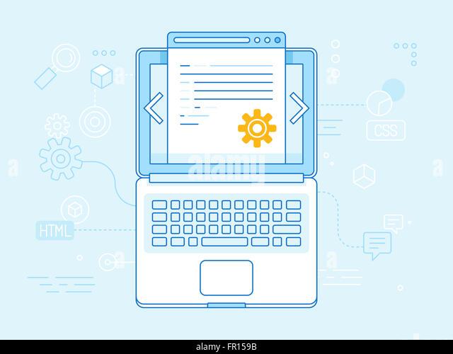 Flache lineare Abbildung in blauen Farben - Programmierung und Programmierung Konzept - Laptop Symbol Draufsicht Stockbild