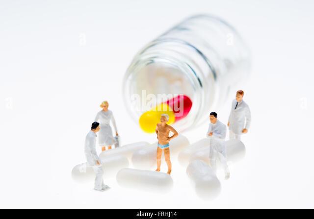 Konzept der pharmazeutischen Prüfung. Stockbild
