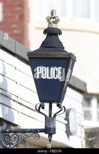Altmodisches Polizei Laterne Zeichen Logo. Stockbild