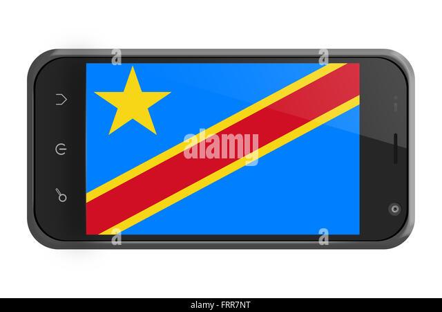 Demokratische Republik Kongo Flagge auf Smartphone-Bildschirm, isoliert auf weiss Stockbild