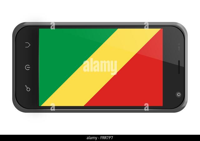 Republik Kongo Flagge auf Smartphone-Bildschirm, isoliert auf weiss Stockbild