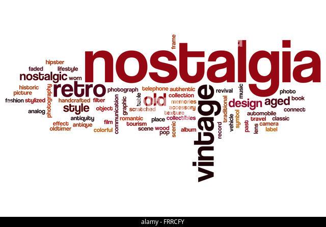 Nostalgie-Konzept Word Cloud-Hintergrund Stockbild