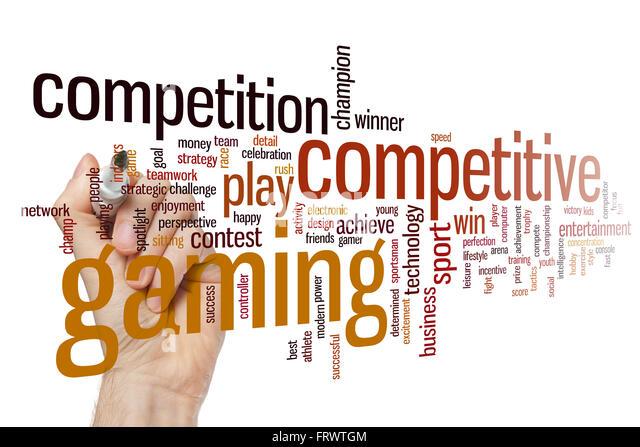Wettbewerbsfähigen Gaming Konzept Word Cloud-Hintergrund Stockbild
