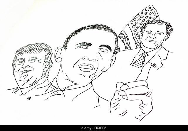 Eine Handzeichnung der amerikanischen Politiker Stockbild