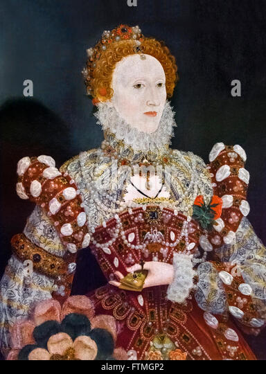 Elizabeth I. Portrait von Königin Elizabeth I von Nicholas Hilliard c 1573. - Stock-Bilder