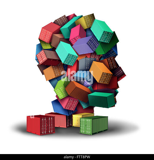 Cargo Fracht Strategiekonzept 3D-Illustration und intelligente Sendung Symbol als eine Gruppe von Transport Container Stockbild